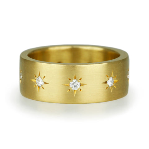 Gold and Star-Set Diamond 8mm Ring
