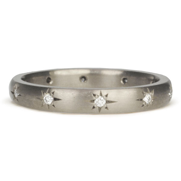 Palladium White Gold Star-Set Diamond Ring