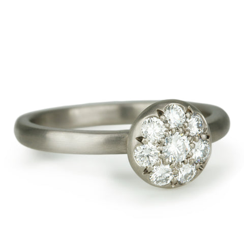 "Palladium White Gold and Pave Diamond Mini ""Lentil"" Ring"