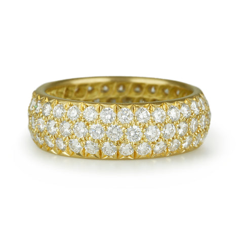 Gold and Three Row Pave Diamond Ring