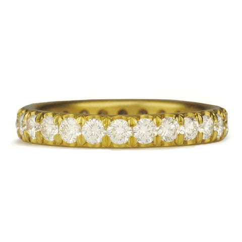 Gold and Wide Single Row Pave Diamond Ring