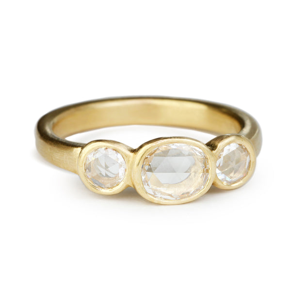 Gold Three Stone White Rose-Cut Diamond Ring