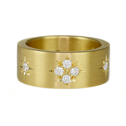 Gold and Diamond Star Cluster Motif Wide Ring