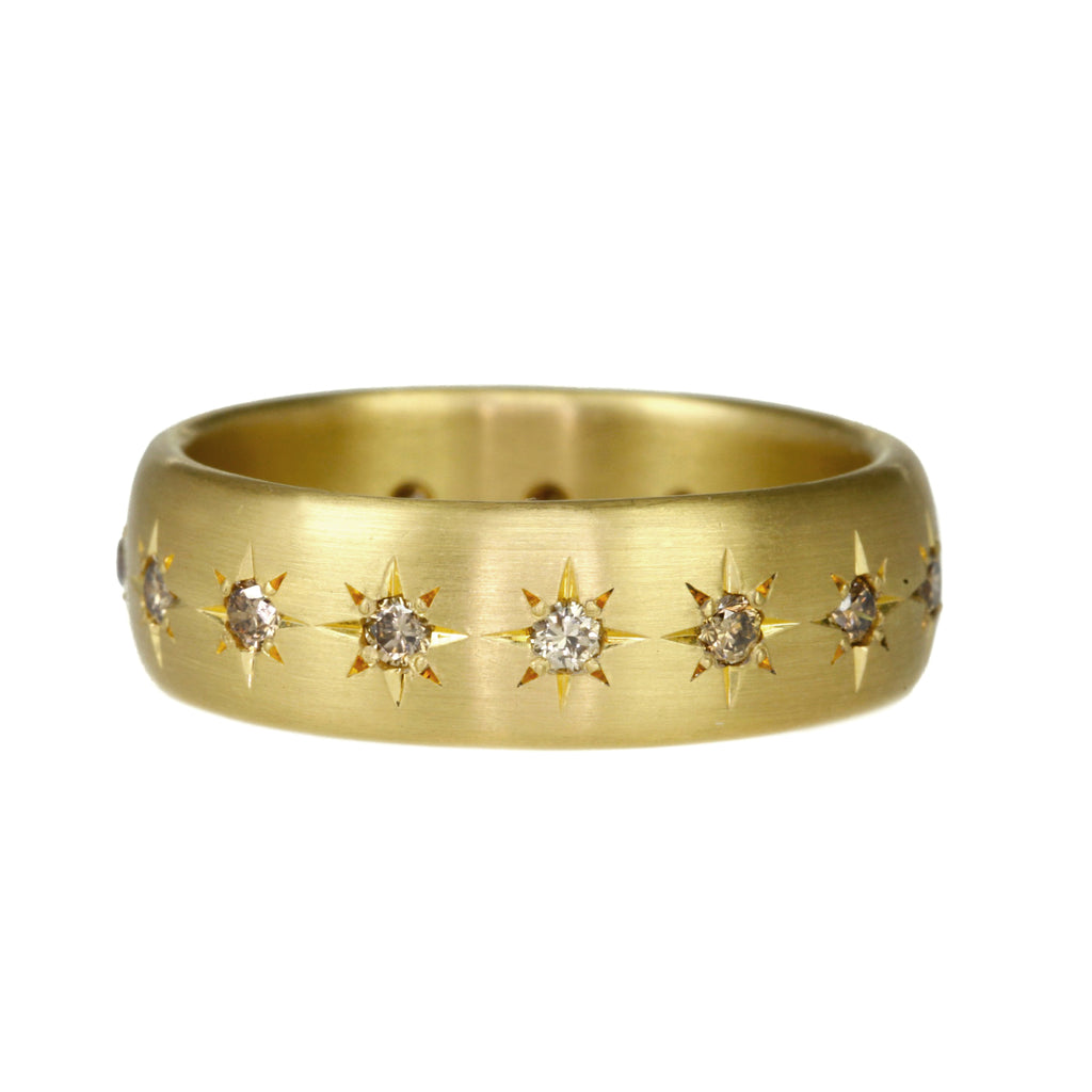 Gold and Star-Set Cognac Diamond 6mm Ring