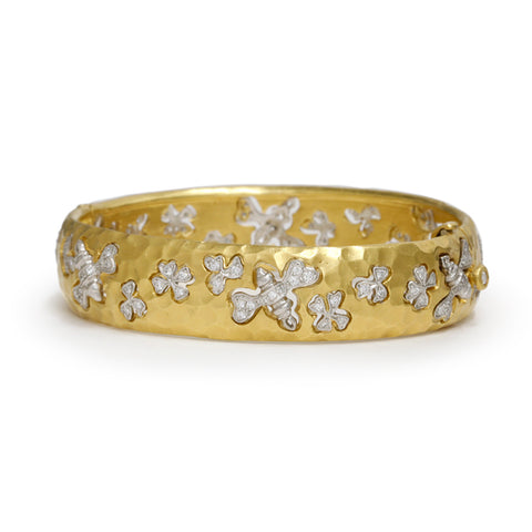 "22K and Platinum Hammered Hinged Bracelet with Diamond ""Bees"""