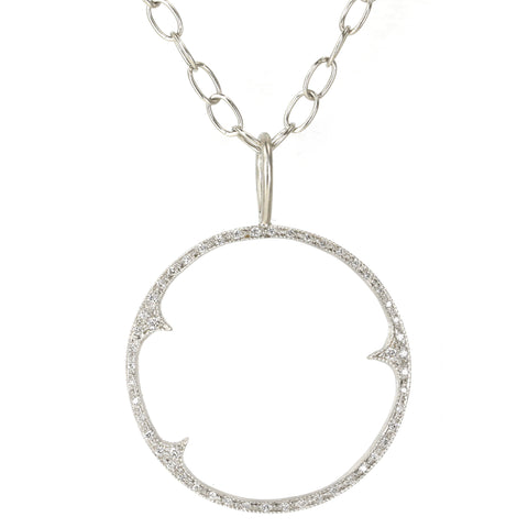 "Platinum and Diamond ""Three Thorn"" Open Circle Charm"