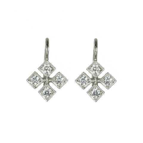 "Platinum and Diamond ""Checkerboard"" Earrings"
