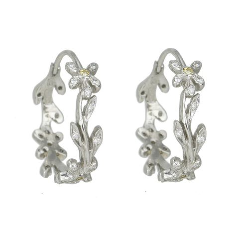 "Platinum and Diamond ""Lacy Flower Vine"" Hoops"
