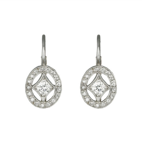 "Platinum ""Oval  Frame"" Diamond Earrings"