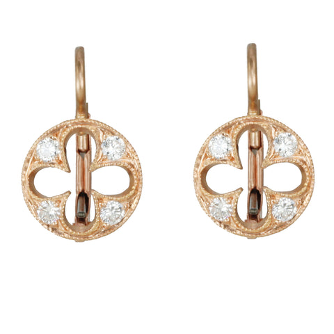 "Rose Gold Pave Diamond ""Four Petal Disc"" Earrings"