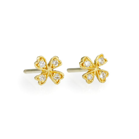 "22K Gold and Diamond ""Four Petal Wildflower"" Earrings"