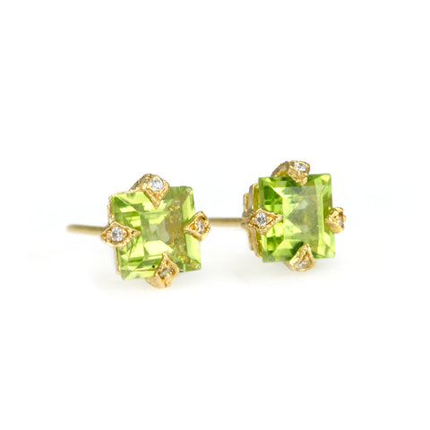 "22K Gold and Square Peridot ""Thorn"" Post Earrings"