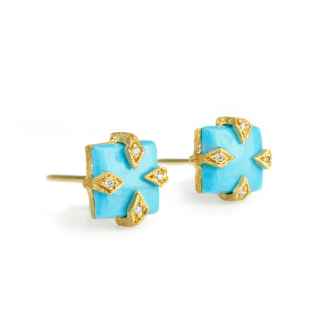 "Cathy Waterman 22K Gold and Square Turquoise ""Thorn"" Post Earrings"