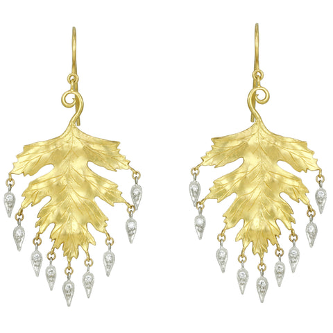 "22K Gold Large Leaf Earrings with Platinum and Diamond ""Dewdrops"""