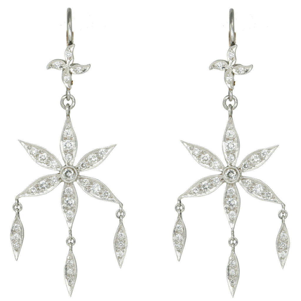 Platinum and Diamond Large Flower Drop Earrings
