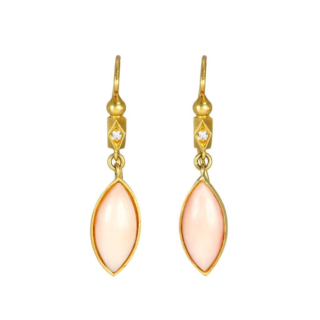 "22K Gold and Coral ""Frame"" Earrings"