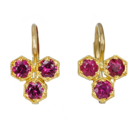 "22K Gold and Ruby ""Triple Hexagonal"" Earrings"