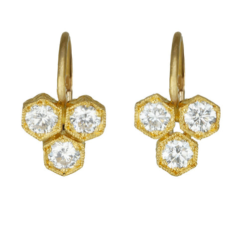 "22K Gold and Diamond ""Triple Hexagonal"" Earrings"