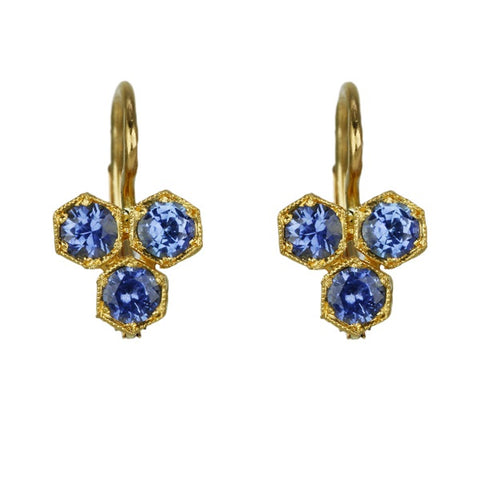 Cathy Waterman 22K Gold Earrings with Triple Hexagonal Blue Sapphires