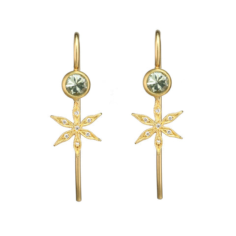 "Cathy Waterman 22K Gold Bezel-Set Green Sapphire Earrings with Pave Diamond ""Star Flowers"""