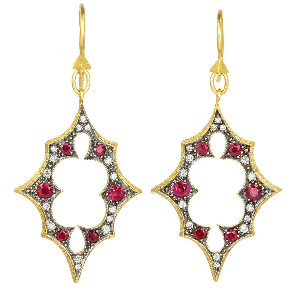 Gold and Diamond Drop Earrings with Rubies