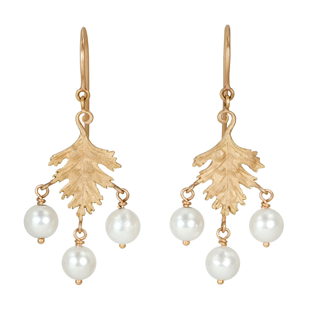 "Rose Gold Small ""Leaf"" Earrings with Akoya Pearls"