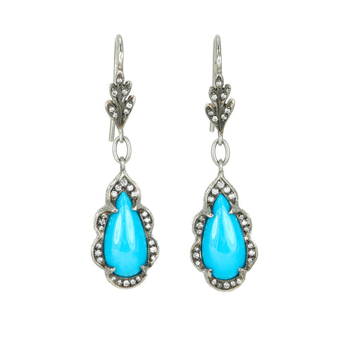Turquoise Drop Earrings with Platinum and Diamonds