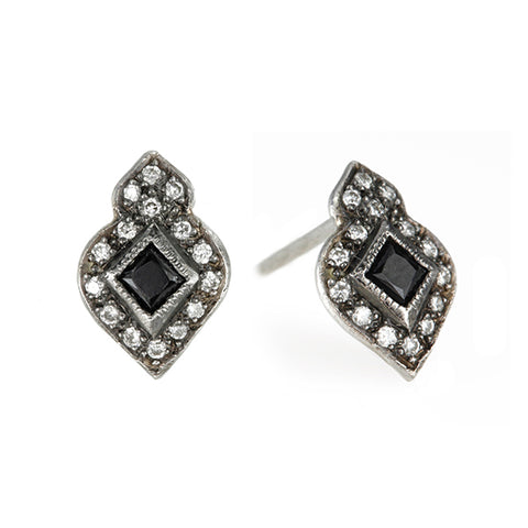 "Platinum and Diamond ""Arabesque"" Earrings with Dark Blue Sapphire Center"