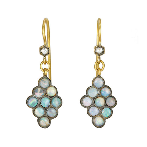 22K Yellow Gold Boulder Opal Scalloped Earrings with Diamonds