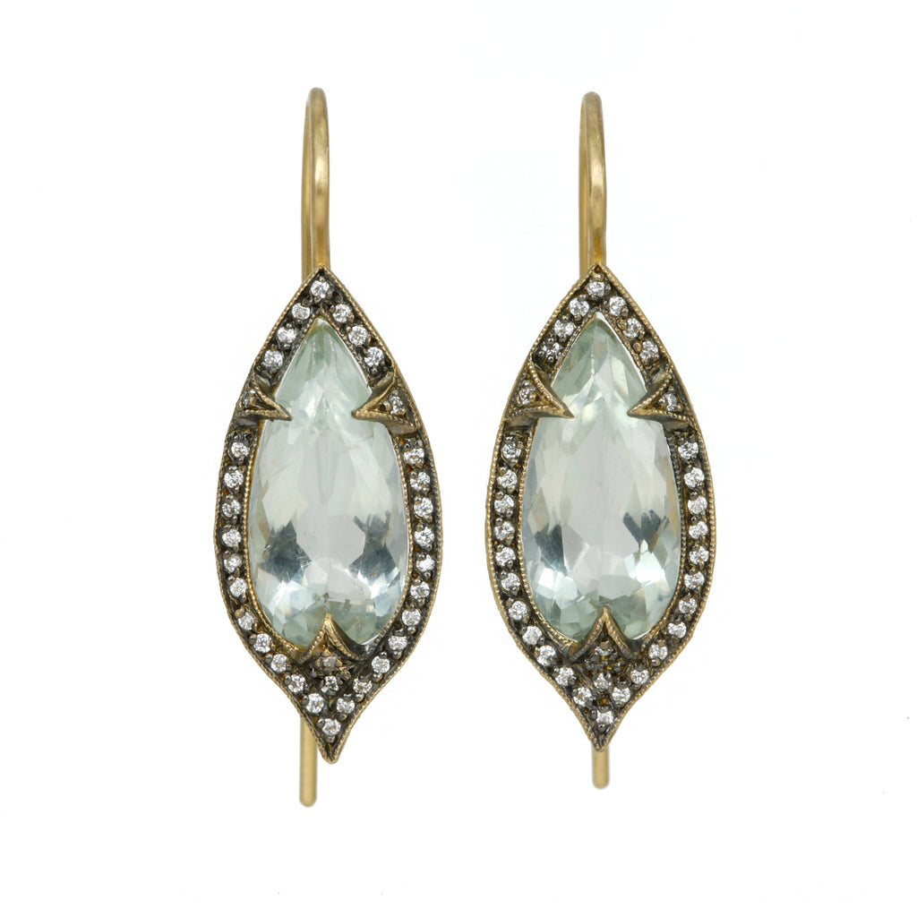 "22K Gold and Green Amethyst ""Thorn"" Earrings"