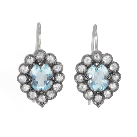 "Sky Blue Topaz and Diamond ""Lace Edge"" Earrings"