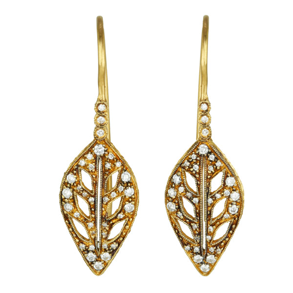 "22K Gold and Diamond ""Large Leaf"" Earrings"