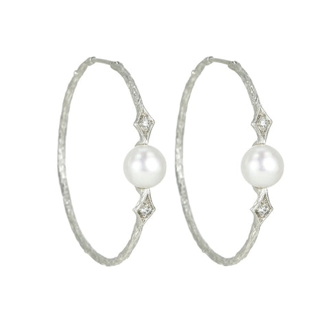 Platinum and Pearl Hoop Earrings