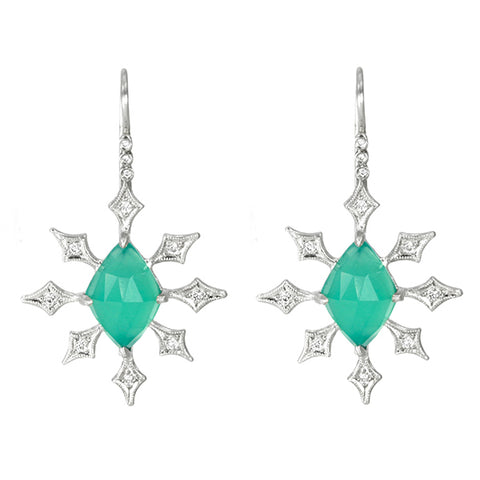 "Platinum and Diamond ""Celestial"" Green Onyx Earrings"