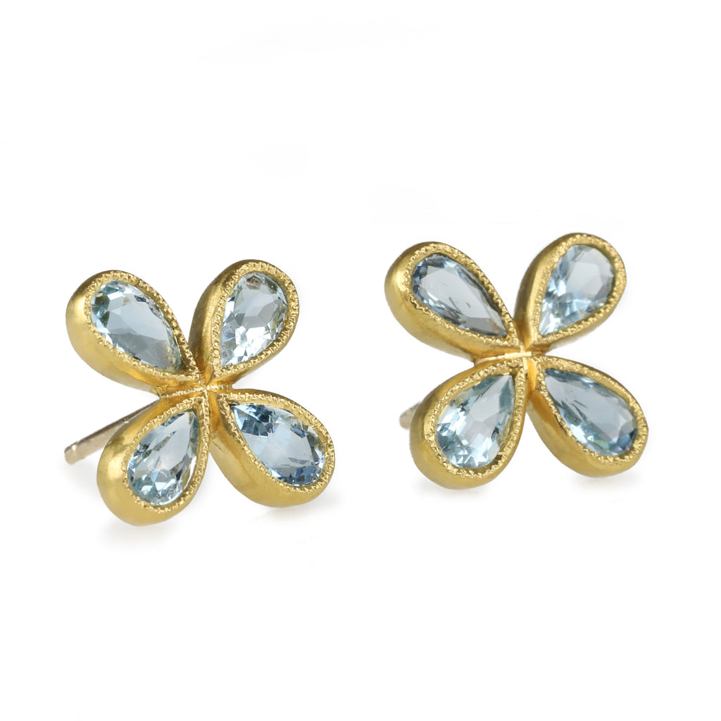 22 Karat Yellow Gold Aquamarine Star Post Earrings