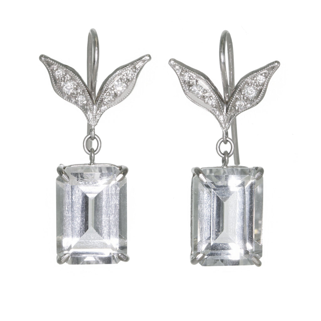 "Platinum and Diamond ""Wheat Leaf Top"" Earrings with Emerald-Cut White Topaz"