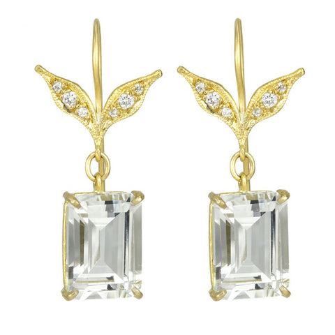 "22K Gold and White Topaz ""Wheat Leaf Top"" Earrings with Diamonds"