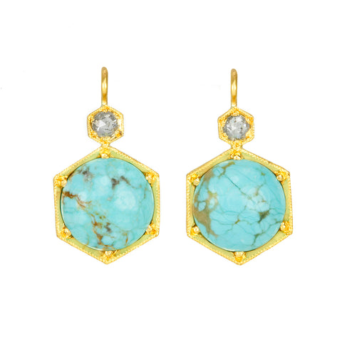 22K Gold and Smooth Round Nevada Turquoise Earrings