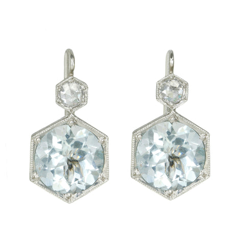 Platinum Aquamarine and Diamond Hexagonal Earrings