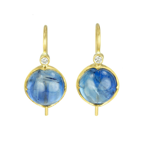 22K Gold Round Kyanite Drop Earrings with Diamonds