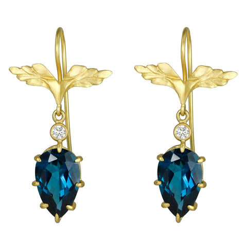 Cathy Waterman 22K Gold London Blue Topaz Wing Earrings with Diamonds