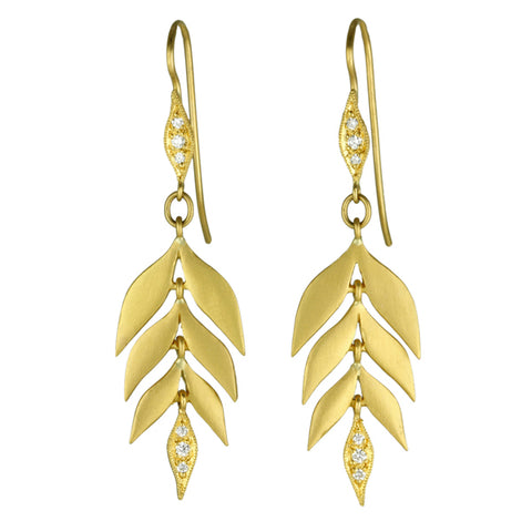 "22K Gold and Diamond ""Falling Leaves"" Earrings"