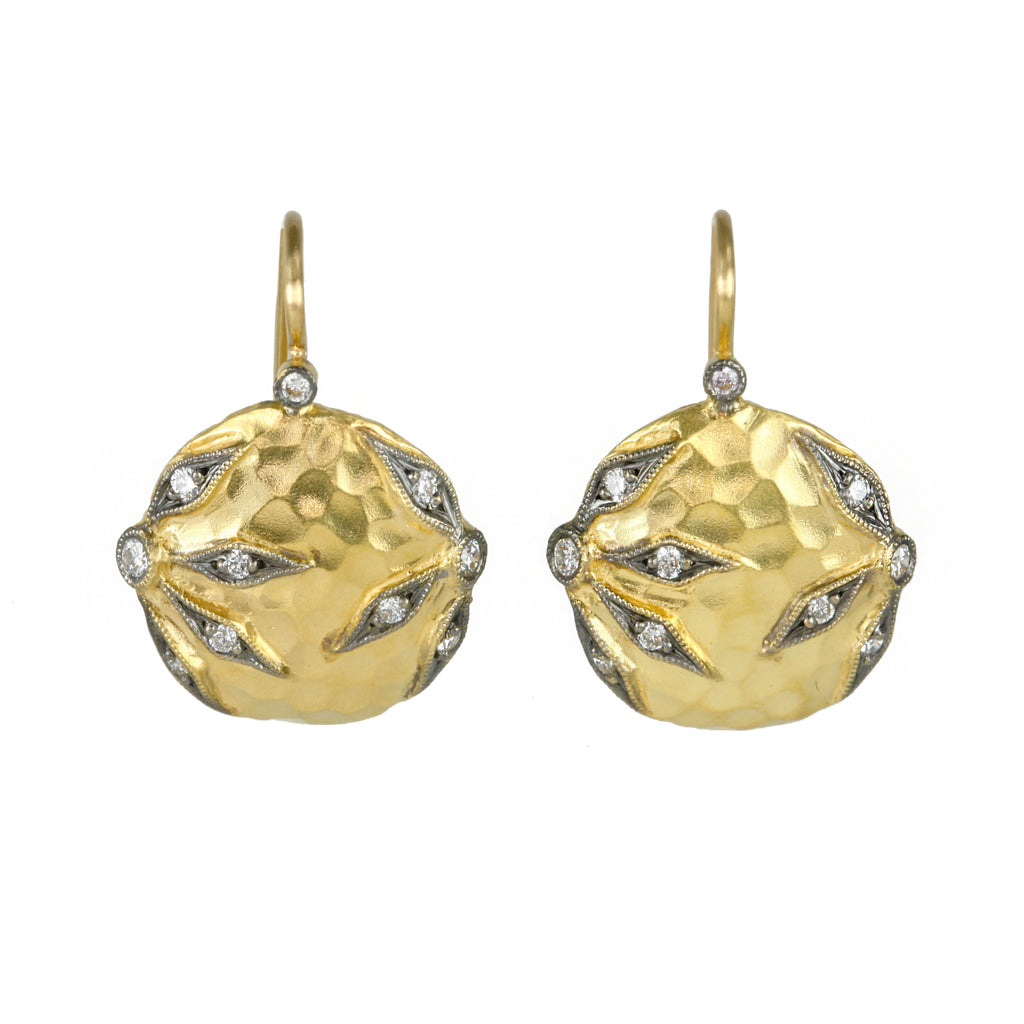 "22K Gold and Diamond ""Flower"" Overlay Earrings"