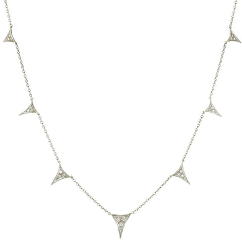 "Platinum and Diamond ""Dragon's Tooth"" Necklace"