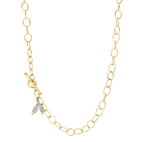 Gold and Platinum Diamond Leaf Charm Necklace