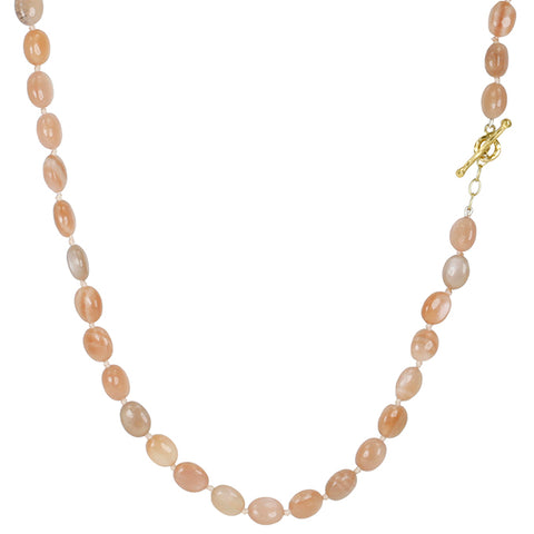 Smooth Peach Moonstone Beaded Necklace