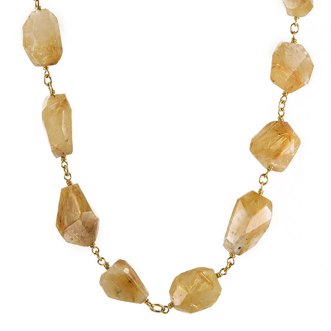Cathy Waterman Rutilated Quartz and 22K Gold Wire-Wrapped Necklace