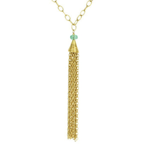 "22K Gold ""Tassel"" Necklace with Emerald Bead"