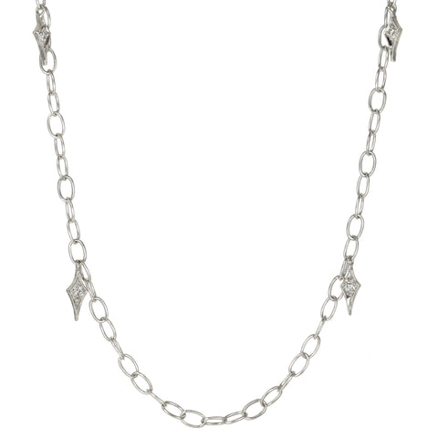 "Platinum Chain with Six Diamond ""Fringes"" and Toggle Clasp"