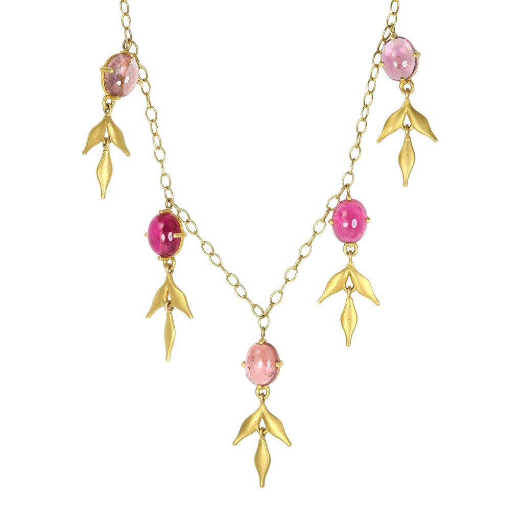 "Cathy Waterman 22K Gold and Pink Tourmaline ""Lyrical Wheat"" Necklace"